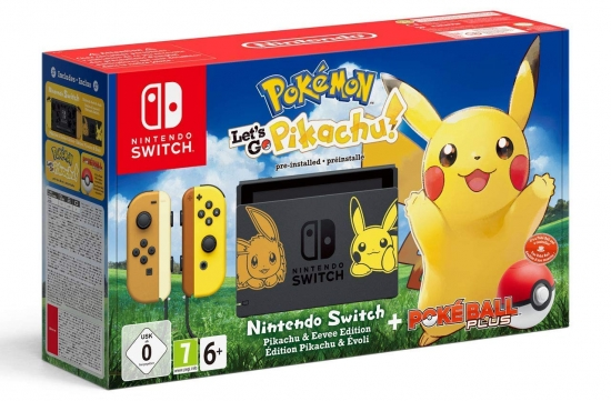 Nintendo Switch Konsole Pokémon Let's Go, Pikachu! Bundle + Pokeball Plus