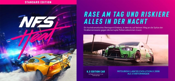 Need for Speed Heat Ultimate Edition (deutsch) (DE USK) (PS4) inkl. Mitsubishi Evolution K.S Edition / Steelbook